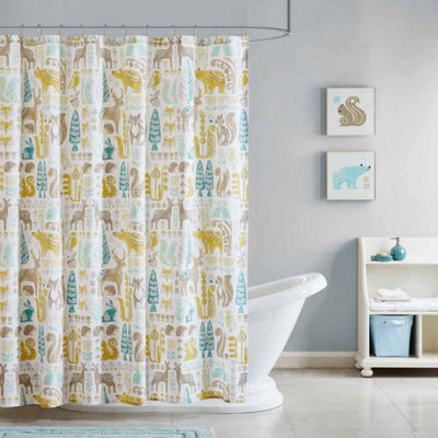 INK+IVY Kids Woodland Cotton Shower Curtain
