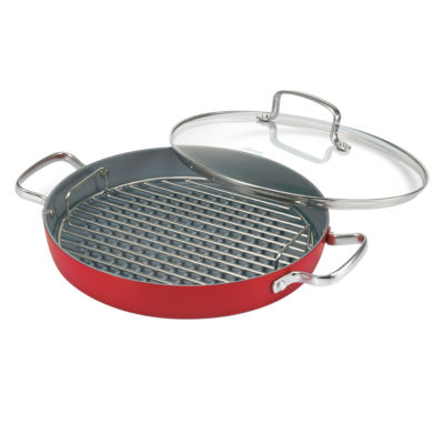 "Fiesta 11"" Ceramic Nonstick Round Grill Pan with Lid"
