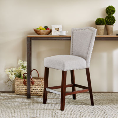 Madison Park Upholstered Nailhead Bar Stool