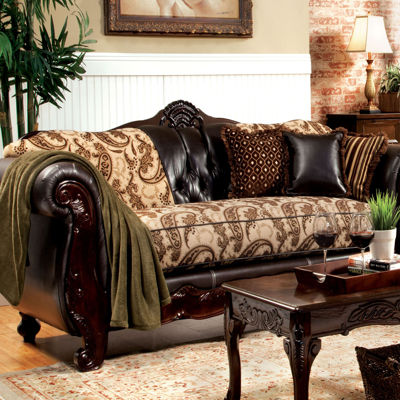 Lucretia Traditional Fabric Roll-Arm Sofa