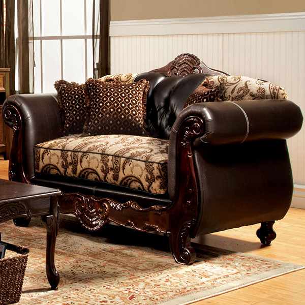 Lucretia Traditional Roll-Arm Loveseat