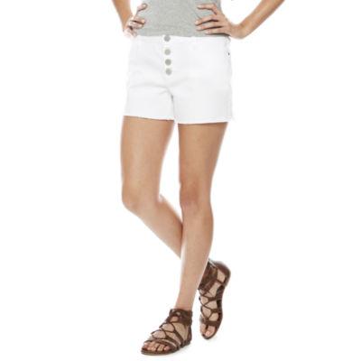 "a.n.a. Button Front Denim Shorts (4"")"