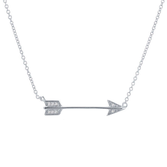 Silver Treasures Arrow Womens Round Pendant Necklace