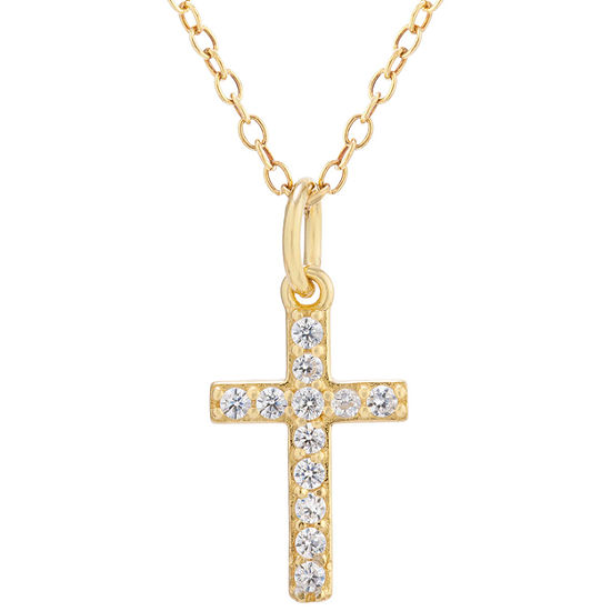 Silver Treasures Cubic Zirconia 14K Gold Over Silver 18 Inch Cable Cross Pendant Necklace