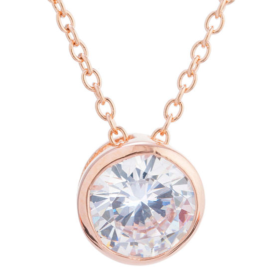 Silver Treasures 16 Inch Cable Round Pendant Necklace