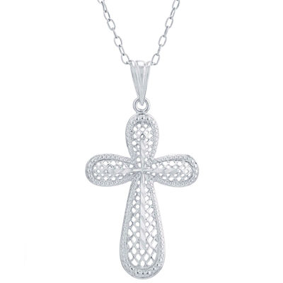 Silver Treasures Womens Cross Pendant Necklace