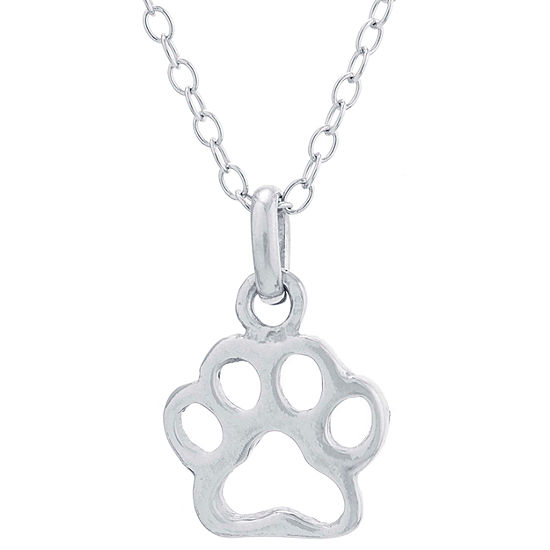 Silver Treasures Paw Print Womens Pendant Necklace
