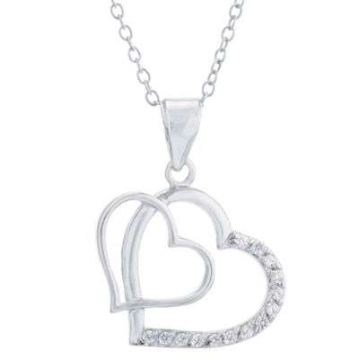 Silver Treasures Womens Clear Heart Pendant Necklace