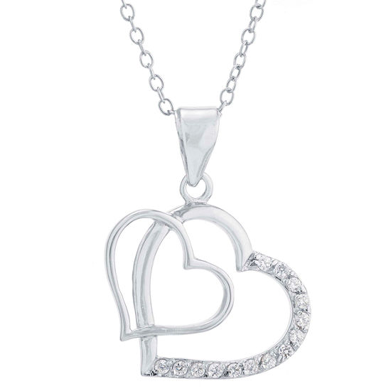 Silver Treasures Womens Heart Pendant Necklace