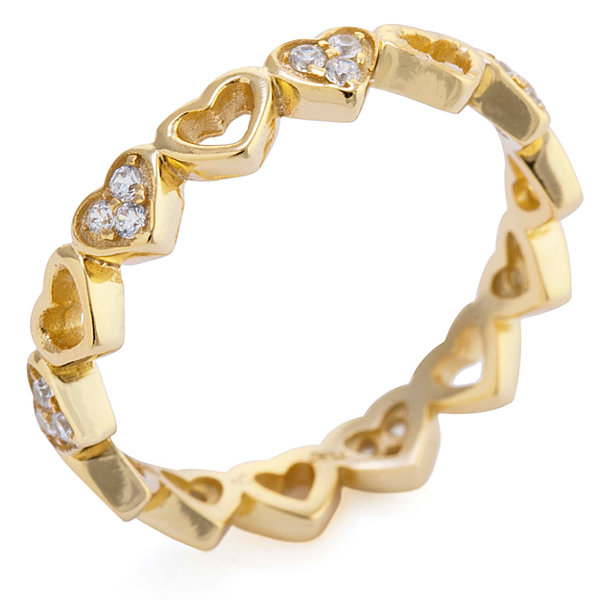Silver Treasures Womens Clear 14K Gold Over Silver Eternity Band