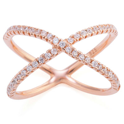 Silver Treasures 14k Rose Gold Over Silver Cubic Zirconia Womens Clear Crossover Ring