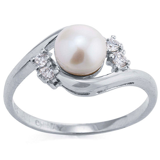 Silver Treasures Sterling Silver Cultured Pearl and Cubic Zirconia Ring