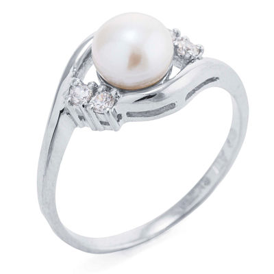 Silver Treasures Womens White Delicate Ring