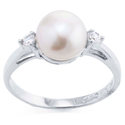Silver Treasures Womens White Side Stone Ring