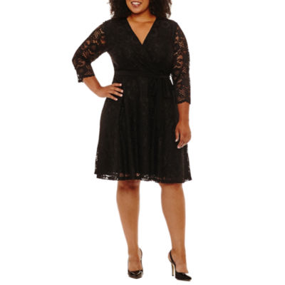 R & K Originals Elbow Sleeve Wrap Dress-Plus