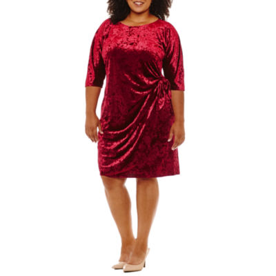 Robbie Bee 3/4 Sleeve Wrap Dress - Plus