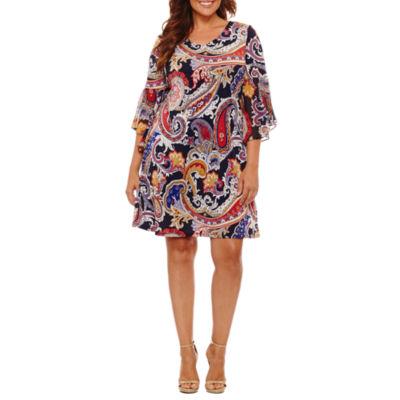 MSK 3/4 Sleeve Paisley Sheath Dress-Plus