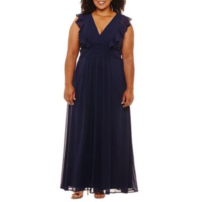 Blu Sage Short Sleeve Evening Gown-Plus