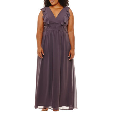 Blu Sage Short Sleeve Evening Gown-Plus