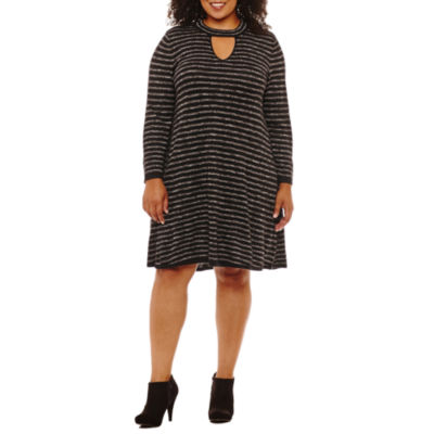 Studio 1 3/4 Sleeve Sweater Dress-Plus