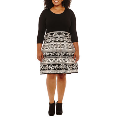 Sandra Darren 3/4 Sleeve Sweater Dress-Plus