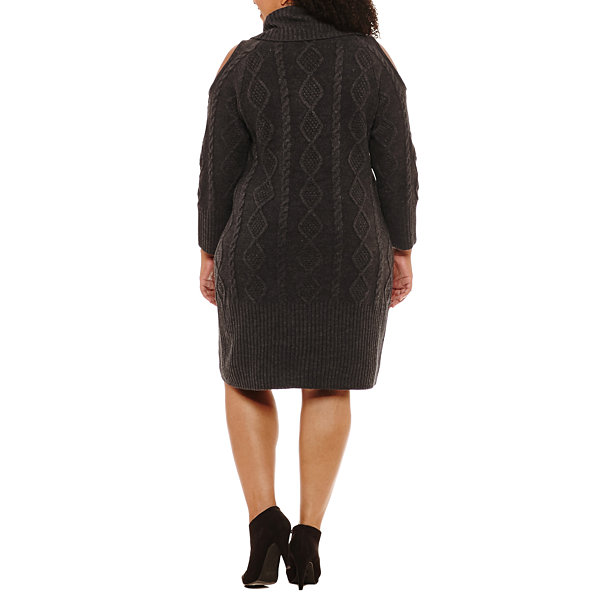 Sandra Darren Long Sleeve Sweater Dress-Plus