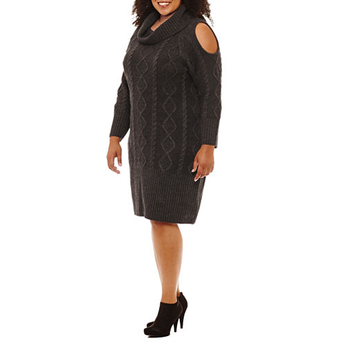 Sandra Darren Long Sleeve Sweater Dress-Plus