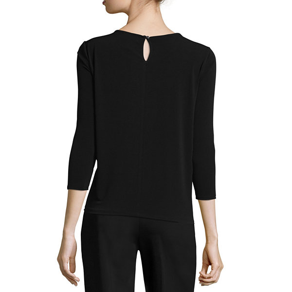 Liz Claiborne Long Sleeve Scoop Neck T-Shirt- Talls