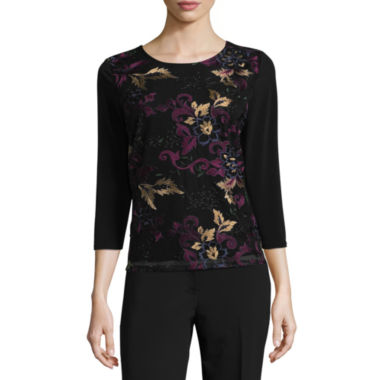 Liz Claiborne Long Sleeve Scoop Neck T-Shirt - Tall
