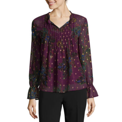 Liz Claiborne Long Sleeve Woven Ruffled Blouse - Tall