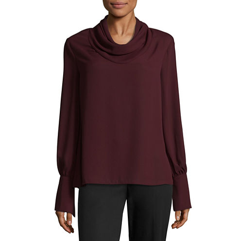 Worthington Long Sleeve Blouse-Talls