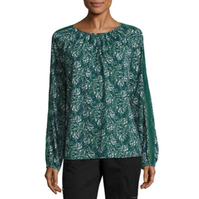 St. John's Bay Long Sleeve Round Neck Slubbed Floral Blouse-Talls