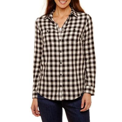 St. John's Bay Long-Sleeve Brushed Twill Shirt - Tall