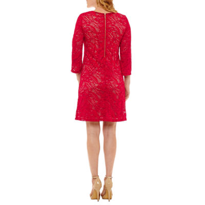 Liz Claiborne 3/4 Sleeve Floral Lace Sheath Dress
