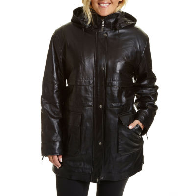 Excelled Leather Midweight Hooded Parka-Plus