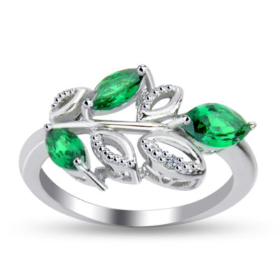 Womens Diamond Accent Simulated Green Emerald Sterling Silver Cocktail Ring