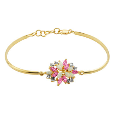 Lab-Created Opal & Pink and White Lab-Created Sapphire 14K Gold Over Silver Bangle Bracelet