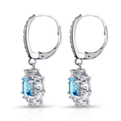 Blue Topaz Sterling Silver Clip On Earrings
