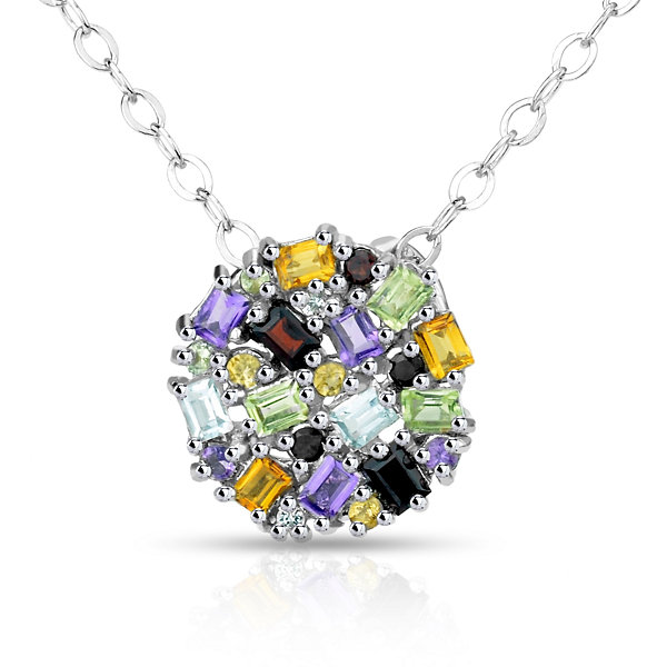 Womens Multi Color Stone Sterling Silver Pendant Necklace