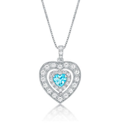 Womens Genuine Swiss Blue Topaz & Lab-Created White Sapphire Sterling Silver Pendant Necklace