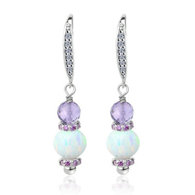 Simulated White Opal Sterling Silver Drop Earrings