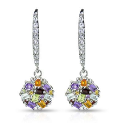 Multi Color Topaz Sterling Silver Drop Earrings
