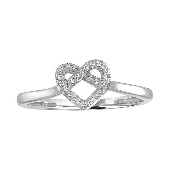 Womens Diamond Accent Genuine White Diamond 10K Gold Heart Delicate Cocktail Ring