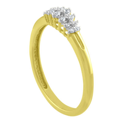 Womens Diamond Accent Genuine White Diamond 10K Gold Delicate Cocktail Ring