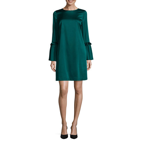 Worthington Long Sleeve Shift Dress-Talls