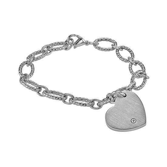 Stainless Steel 7.5 Inch Solid Link Heart Chain Bracelet
