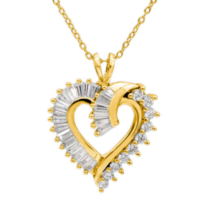Diamonart Womens Lab Created White Cubic Zirconia 14K Gold Over Silver Heart Pendant Necklace