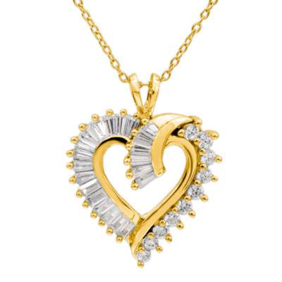 Diamon Art Womens White Cubic Zirconia 14K Gold Over Silver Pendant Necklace