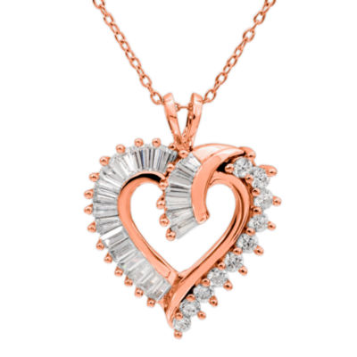 DiamonArt® Womens White Cubic Zirconia 14K Rose Gold Over Silver Heart Pendant Necklace