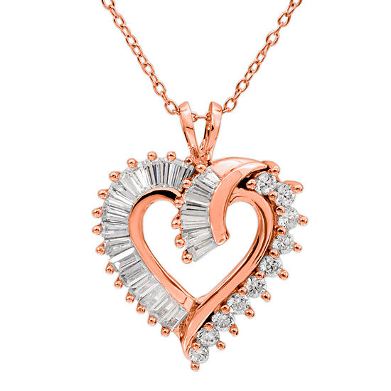 Diamonart Womens White Cubic Zirconia 14K Rose Gold Over Silver Heart Pendant Necklace